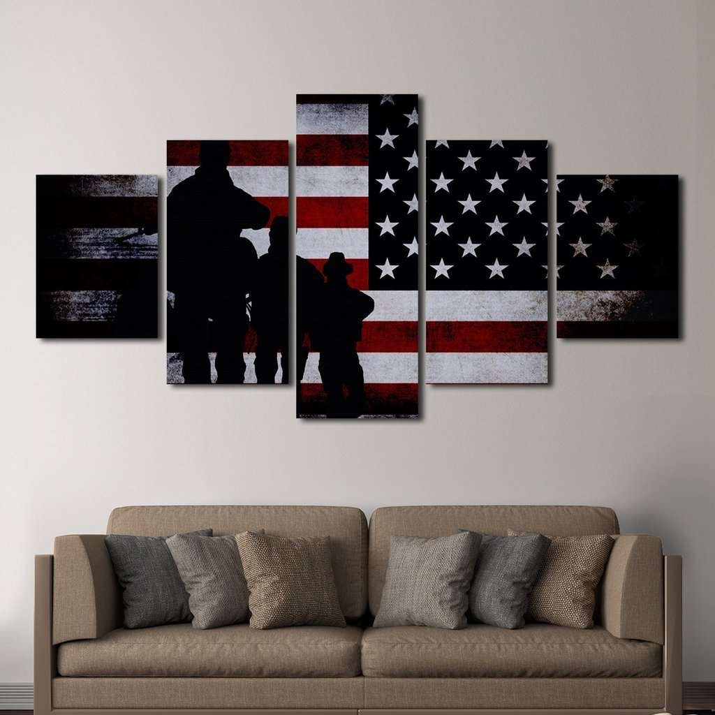 Latest Multi Panel Wall Art Intended For American Flag With Soldiers Multi Panel Canvas Wall Art – Mighty (Gallery 10 of 15)