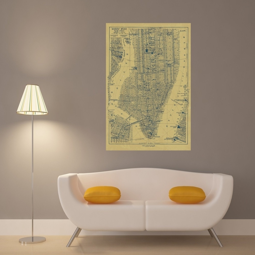 Latest New York City Map Vintage Retro Posters And Prints Home Decoration With New York City Map Wall Art (View 5 of 20)