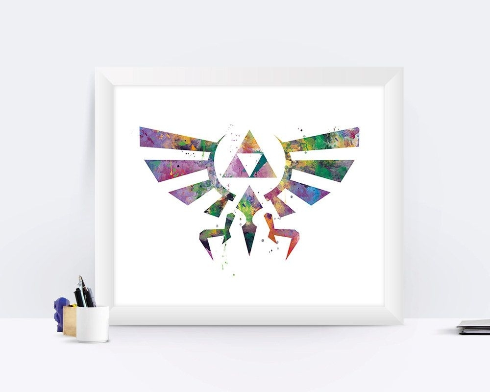 Latest Nintendo Wall Art In The Legend Of Zelda Art Print Zelda Poster Hyrule Crest Link (View 5 of 20)