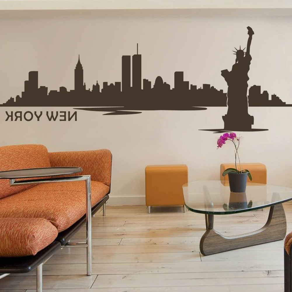 Latest Nyc Wall Art Within Battoo New York Wall Decor City Skyline Silhouette Wall Decal The (Gallery 17 of 20)