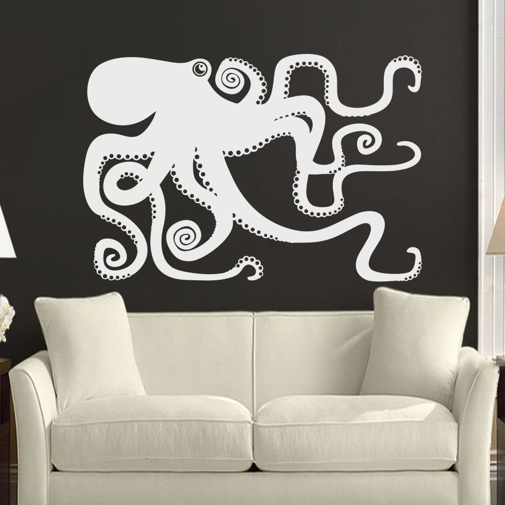 Latest Octopus Wall Art For Large Octopus Decal Ocean Wall Decor Sea Octopus Wall Art Bathroom (Gallery 5 of 20)