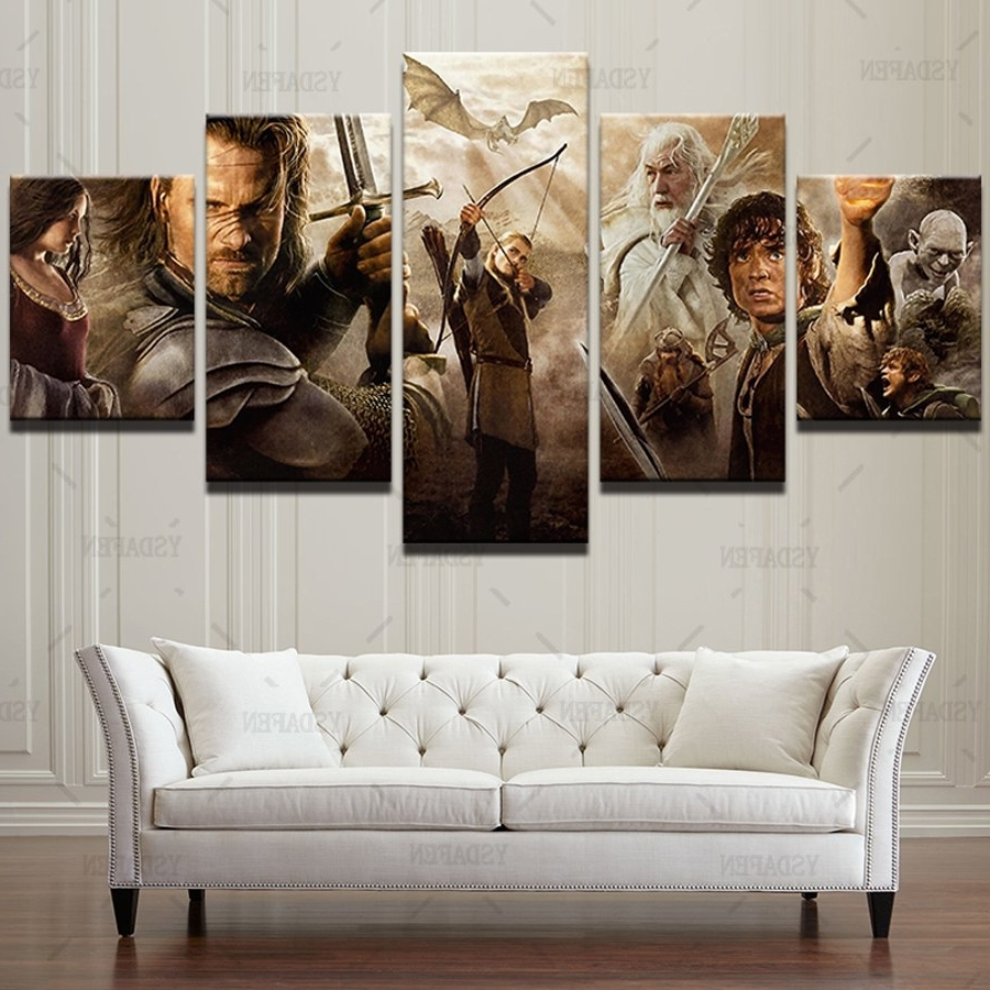 Latest Oil Canvas Wall Art 5 Panel Lord Of The Rings Movie Characters With Regard To Lord Of The Rings Wall Art (View 3 of 20)