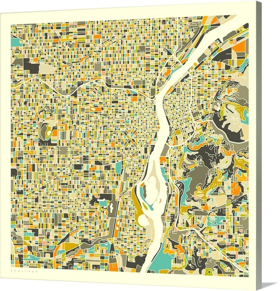 Latest Portland Map Wall Art Intended For Portland Map Wall Art City Map Poster Printable Print Street Map (View 12 of 20)