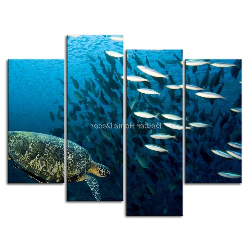 Latest Sea Turtle Canvas Wall Art Pertaining To 3 Piece Blue Wall Art Painting Sea Turtle Underwater Picture Print (View 8 of 20)