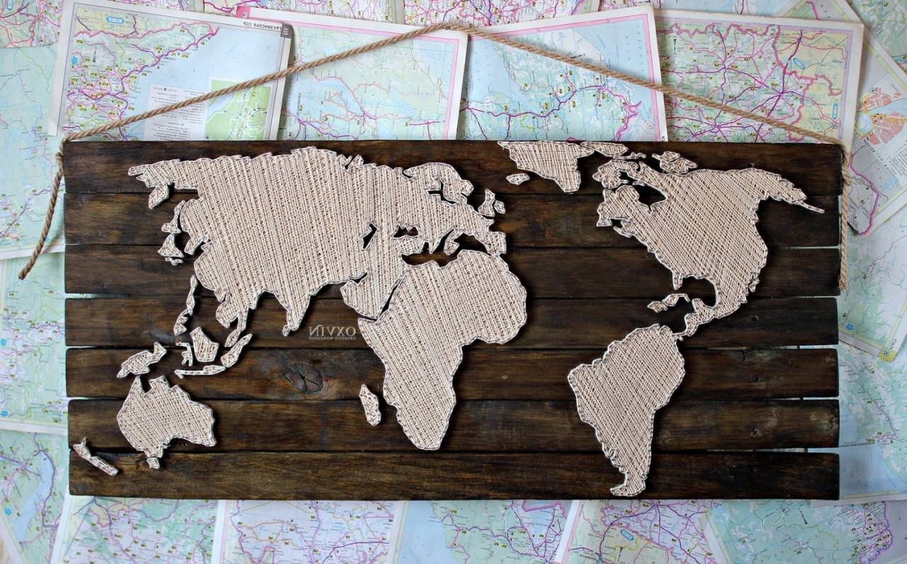 Latest String Map Wall Art Regarding 84×38Cm World Map String Art, Made To Order, – Hachaeva Blog Tumblr (View 9 of 20)
