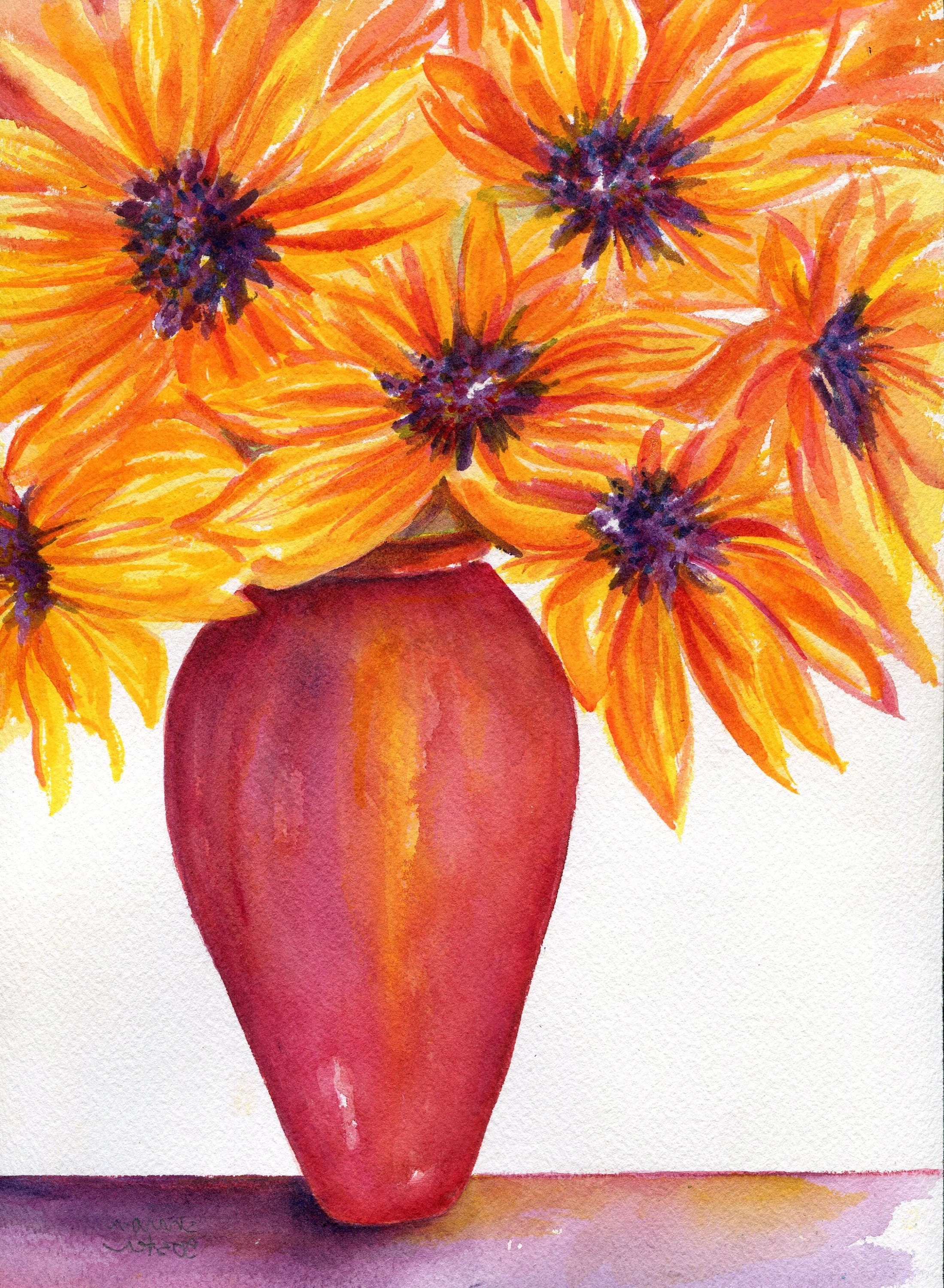 Latest Sunflower Wall Art In Sunflowers Watercolors Painting Original, Sunflower Wall Art (View 4 of 20)