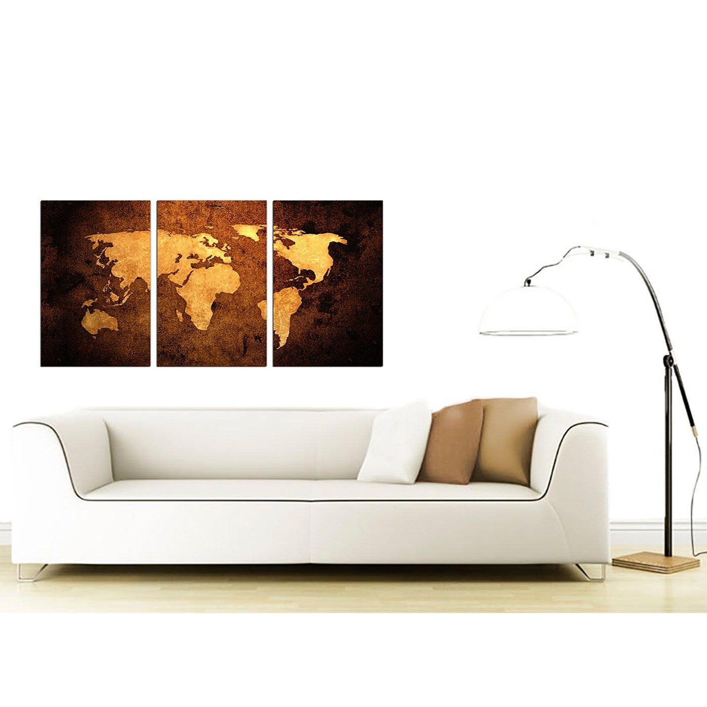 Latest Wall Art Throughout Vintage World Map Canvas Wall Art Set Of 3 For Your Bedroom (View 2 of 15)