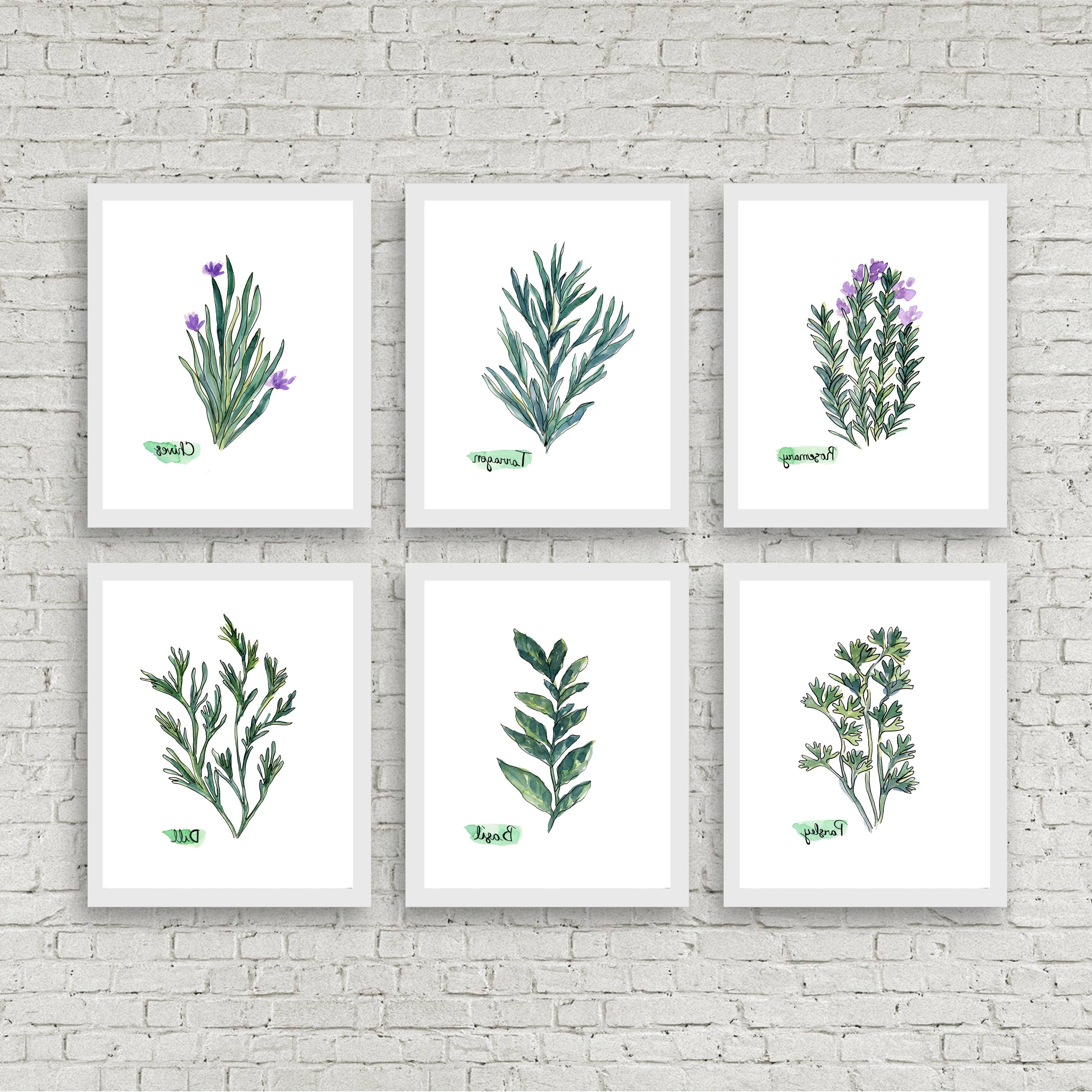 Latest Watercolor Herb Print Set Of 6 Watercolor Green Botanical Prints With Herb Wall Art (View 16 of 20)