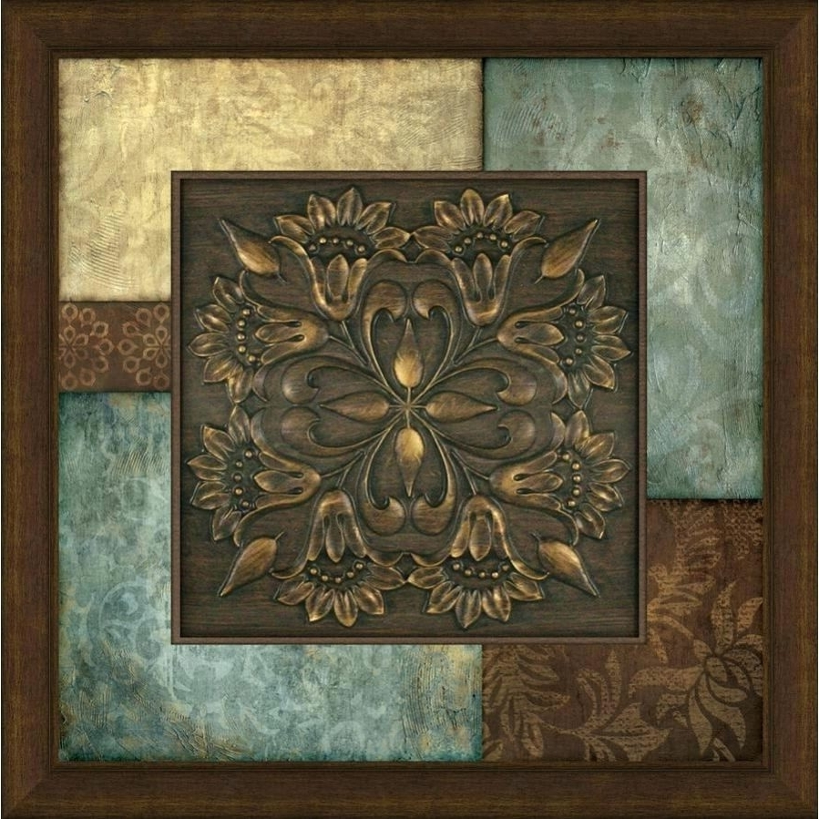 Latest Wood Medallion Wall Art Pertaining To Round Medallion Wall Art Square Nail Metal 4 Decor Scrolled Outdoor (View 16 of 20)