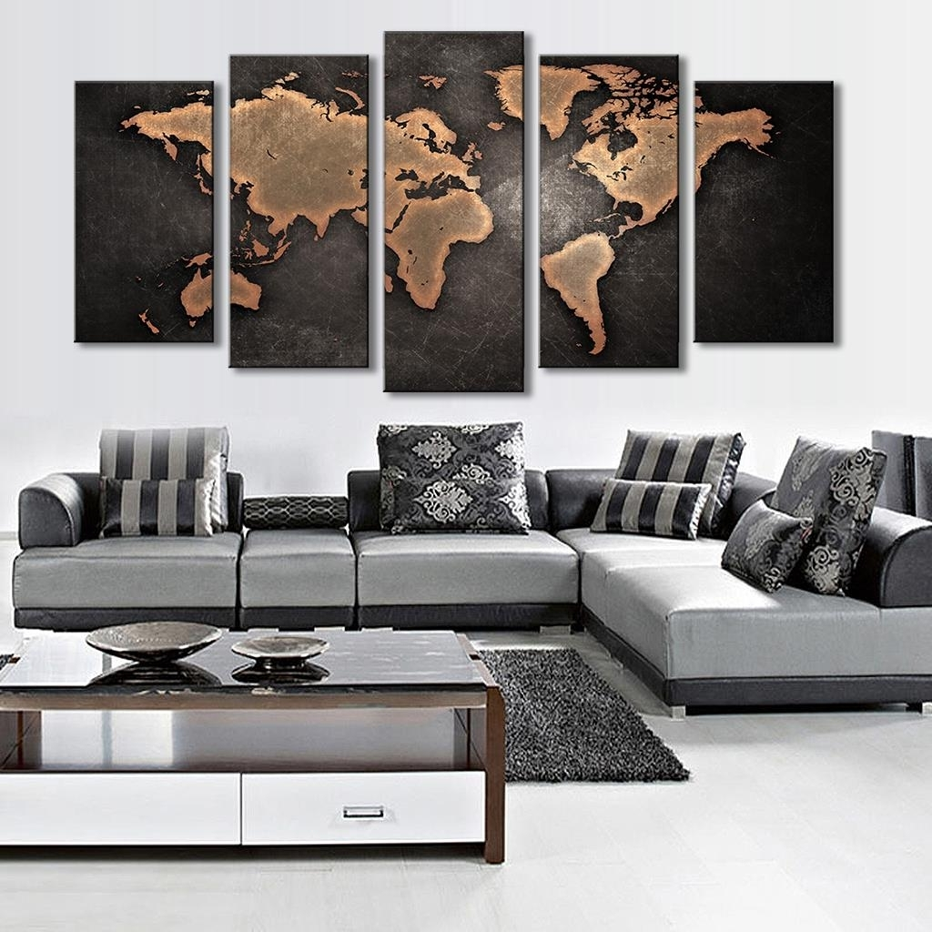 Latest World Map Wall Art Canvas With 5 Pieces Modular Pictures For Home Abstract Wall Art Painting World (View 14 of 20)