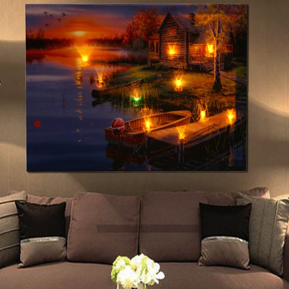 Led Lighted Lake Cabin Sunset Boat Canvas Wall Art Light Up Picture With Regard To Most Current Light Up Wall Art (View 2 of 20)