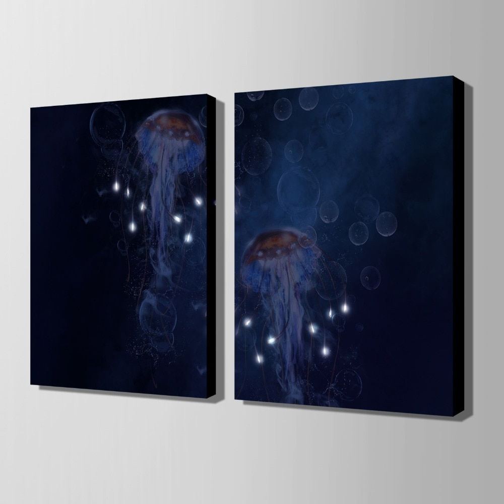 Led Wall Art Inside Best And Newest Stretched Canvas Prints Jellyfish Led Flashing Optical Fiber Print (View 2 of 20)