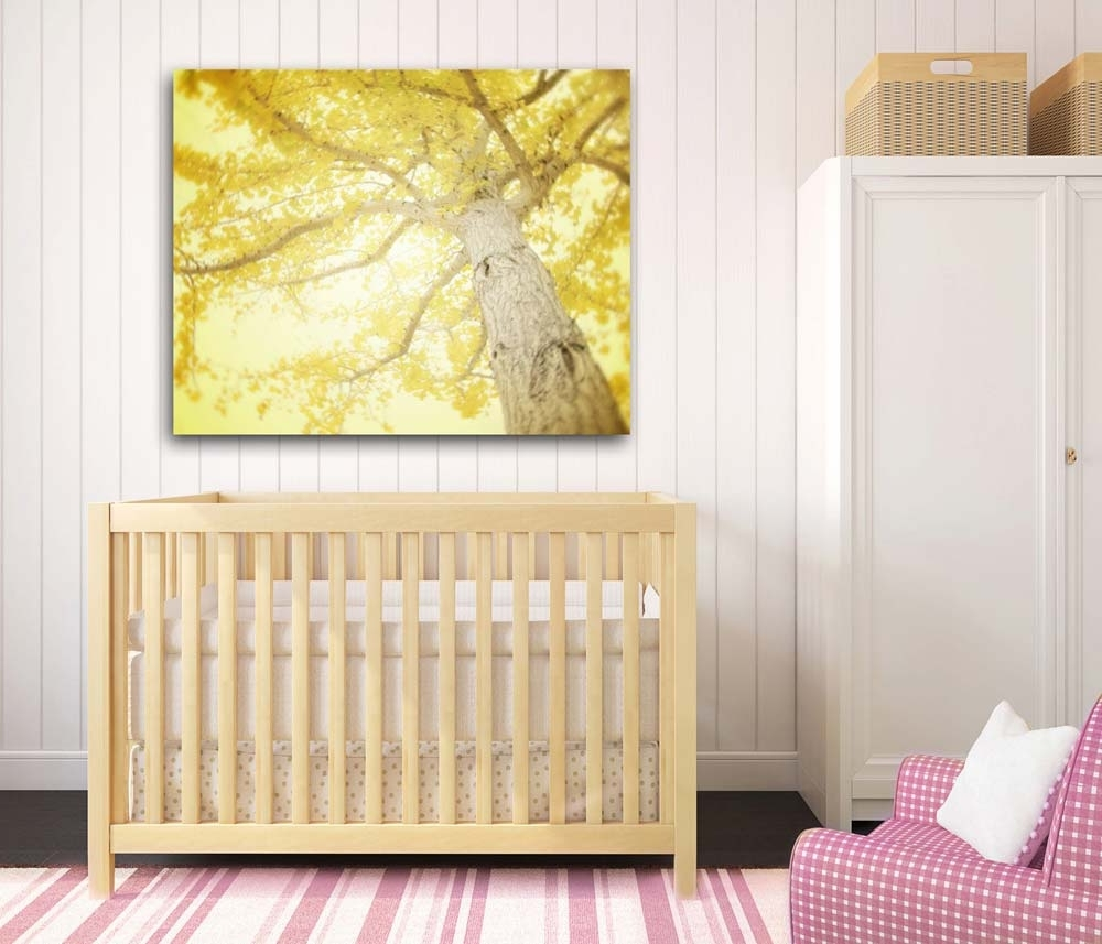 Lemon Wall Art For Best And Newest Large Lemon Yellow Gingko Tree Wall Art On Canvas (View 4 of 20)