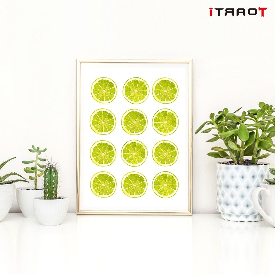 Lemon Wall Art In Famous Bright Colors Yellow Green Lemon Wall Art Canvas Painting Kitchen (Gallery 12 of 20)