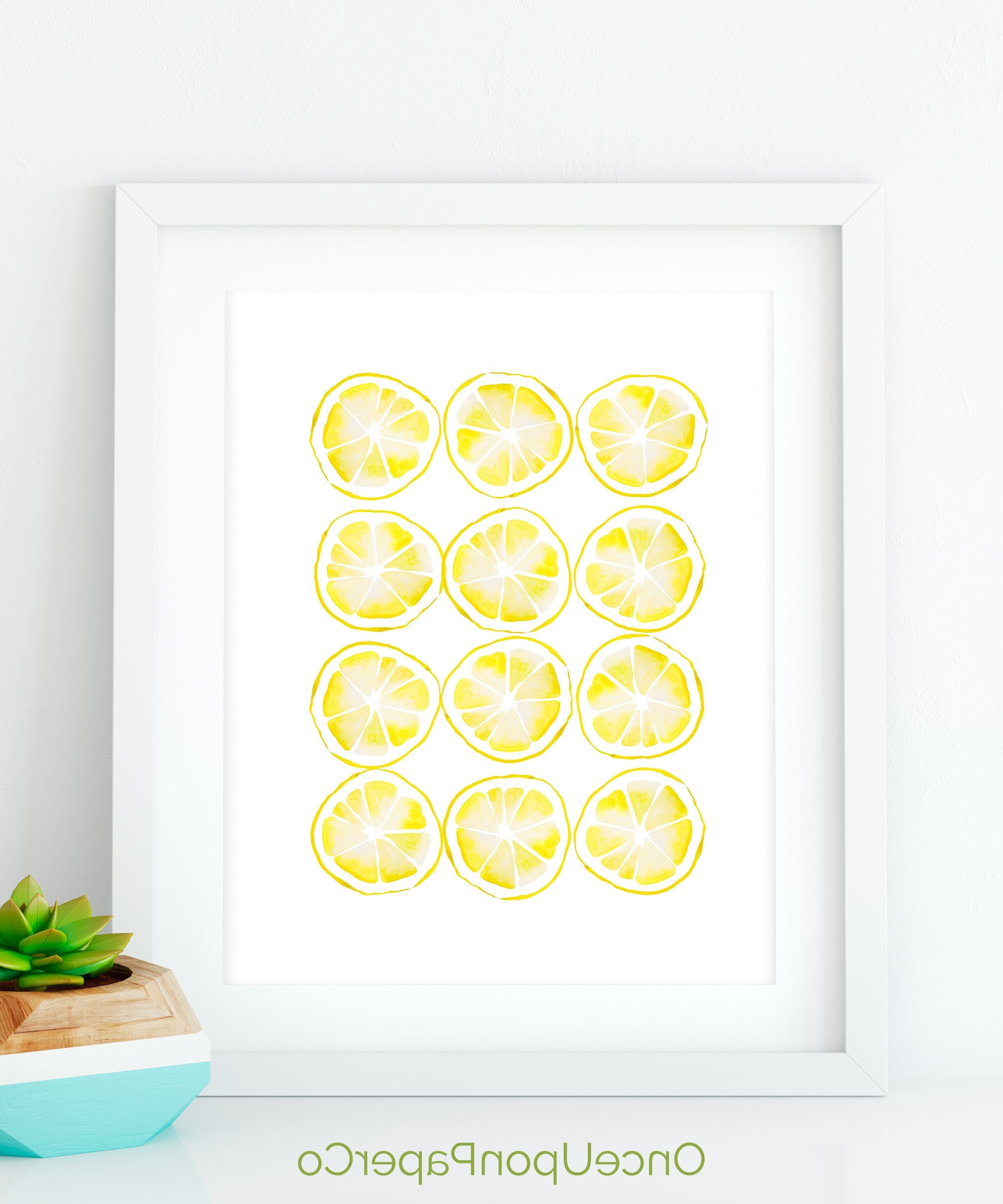 Lemon Wall Art Regarding Best And Newest Lemon Kitchen Print, Kitchen Printable, Farmhouse Style, Rustic Home (Gallery 1 of 20)