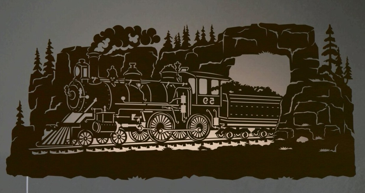"Lighted Wall Art Regarding Well Liked 42"" Steam Locomotive Train Scenic Led Back Lit Lighted Metal Wall (View 11 of 20)"