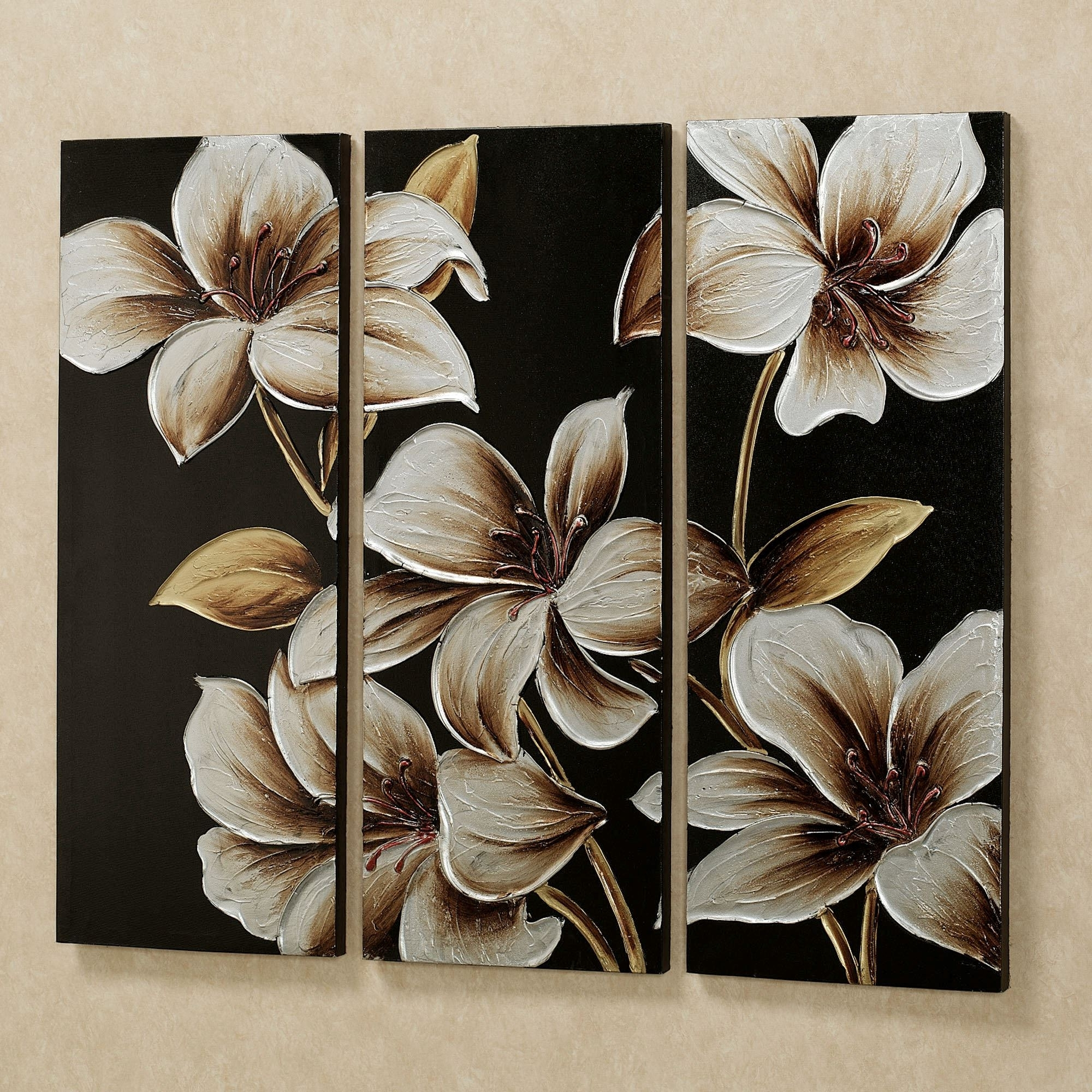 Lilies At Dusk Floral Triptych Canvas Art Set Regarding Trendy Floral Canvas Wall Art (Gallery 19 of 20)