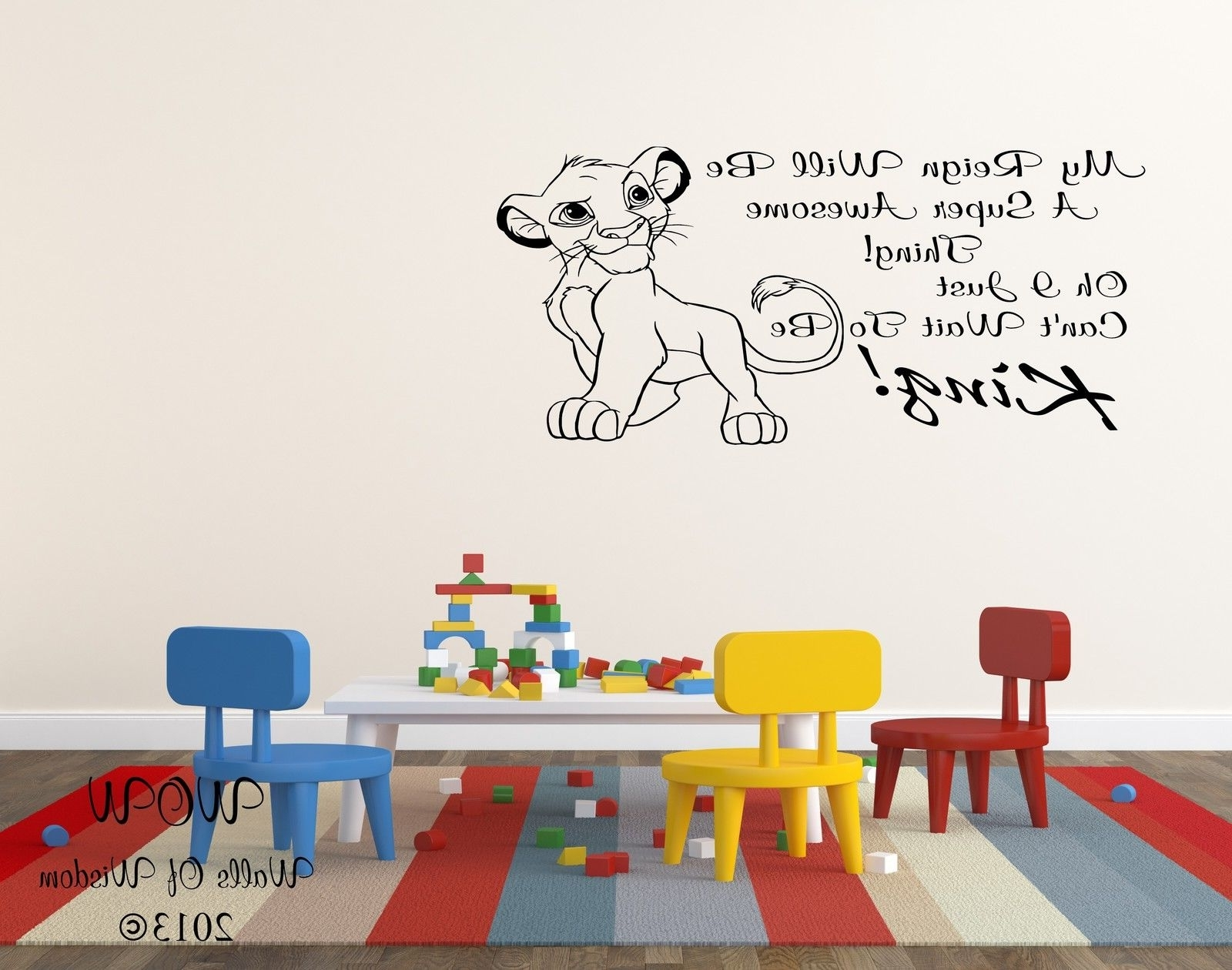 Lion King Simba Childrens Bedroom Wall Sticker Wall Art Decal Home Regarding Popular Lion King Wall Art (Gallery 20 of 20)