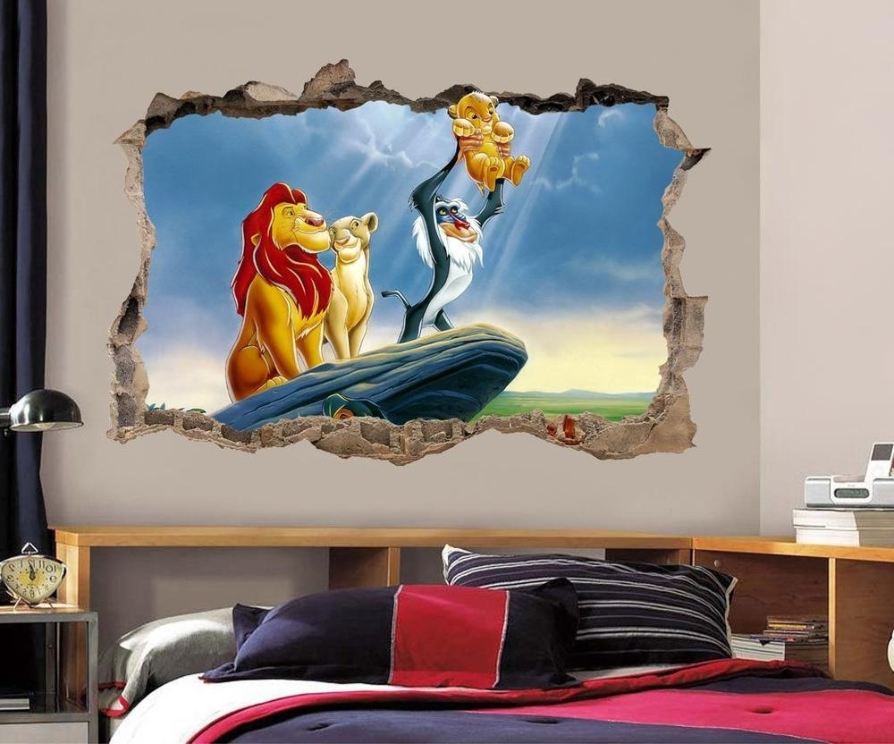 Lion King Simba Smashed Wall Decal Graphic Wall Sticker Decor Art Throughout Favorite Lion King Wall Art (View 7 of 20)