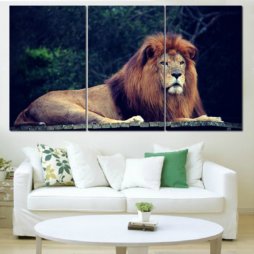 Lion King Wall Art For Favorite New Oil Painting Lion King Animal Landscape Wall Art Posters And (View 8 of 20)