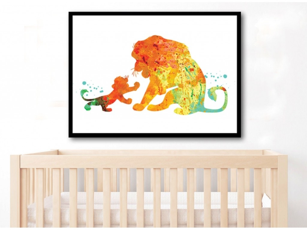 Lion King Watercolor Art Print Simba And Mufasa Watercolor Lion King Regarding Most Recently Released Lion King Wall Art (View 9 of 20)