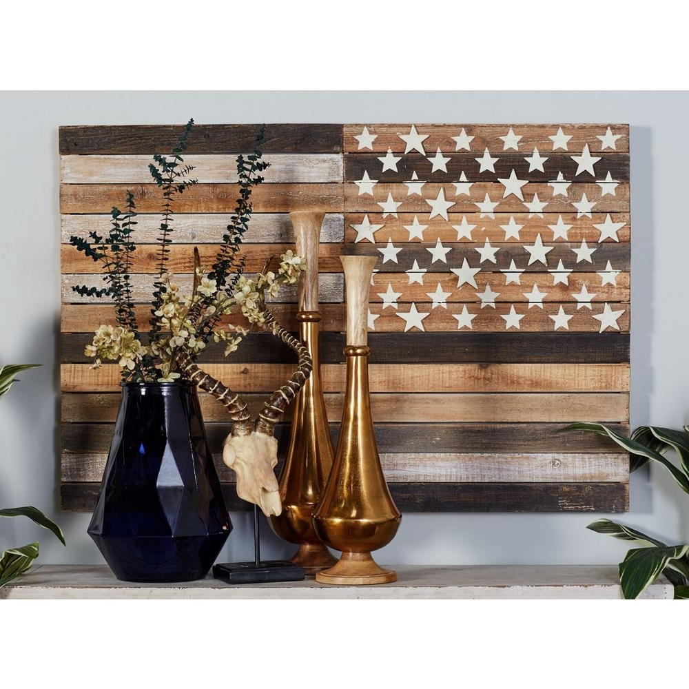 "Litton Lane 30 In. X 44 In. ""rustic American Flag"" Framed Wooden In Most Current Wooden American Flag Wall Art (Gallery 10 of 20)"
