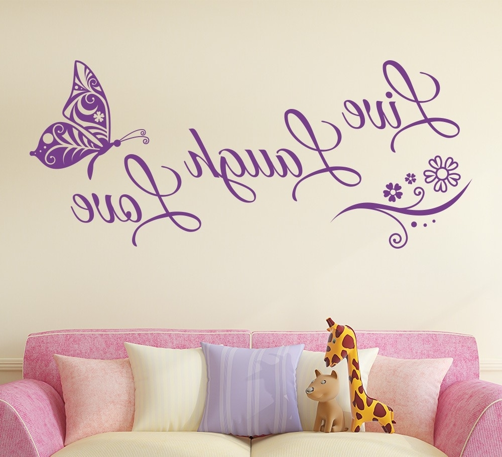 Live Laugh Love Butterfly Flower Wall Art Sticker – Gemdrip In Latest Live Laugh Love Wall Art (Gallery 10 of 20)