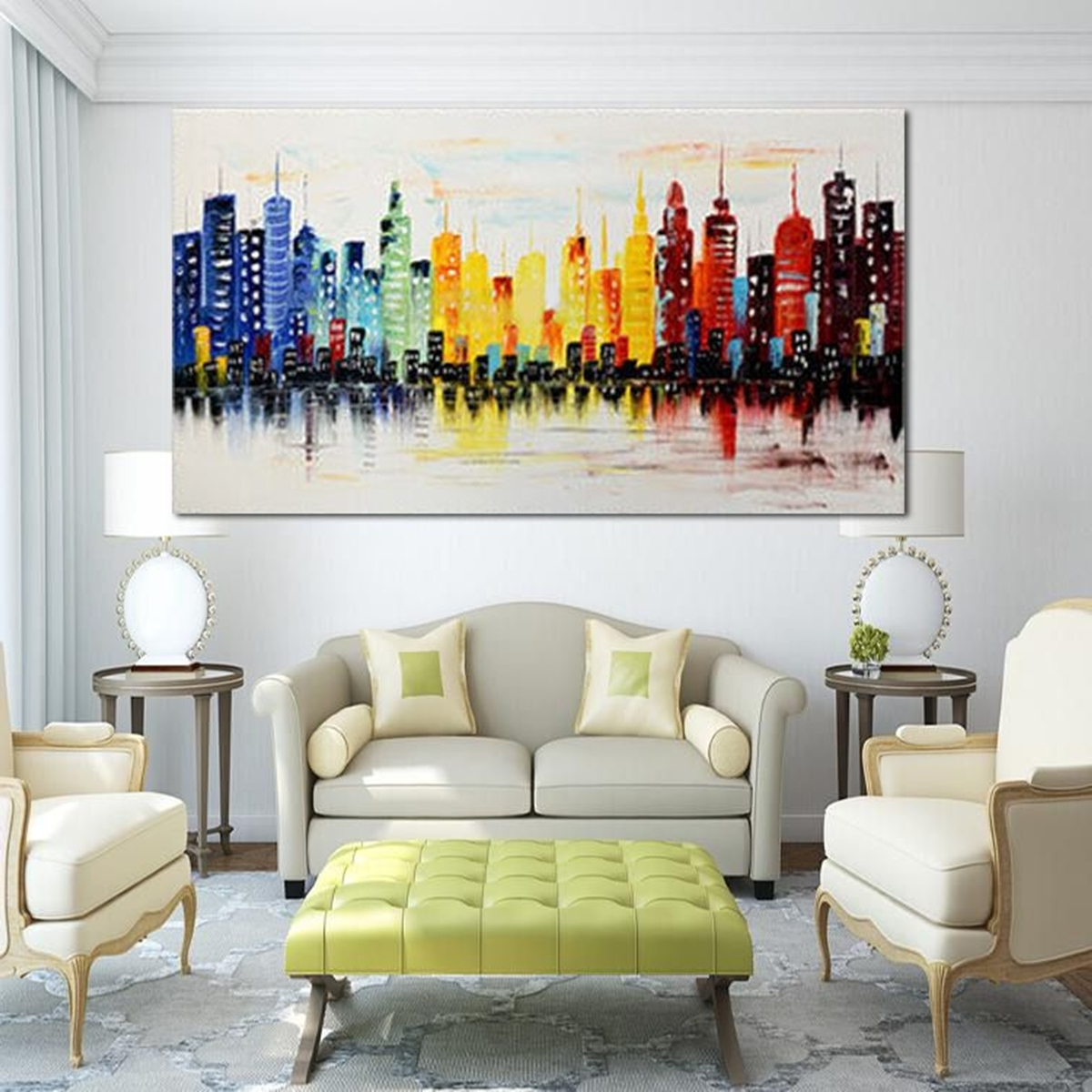 Living Room Painting Wall Art For Favorite 120X60Cm Modern City Canvas Abstract Painting Print Living Room Art (View 4 of 20)