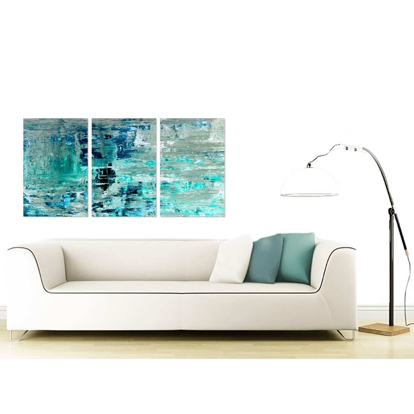 Living Room Painting Wall Art Within Most Recent Turquoise Teal Abstract Painting Wall Art Print Canvas – Multi  (View 8 of 20)