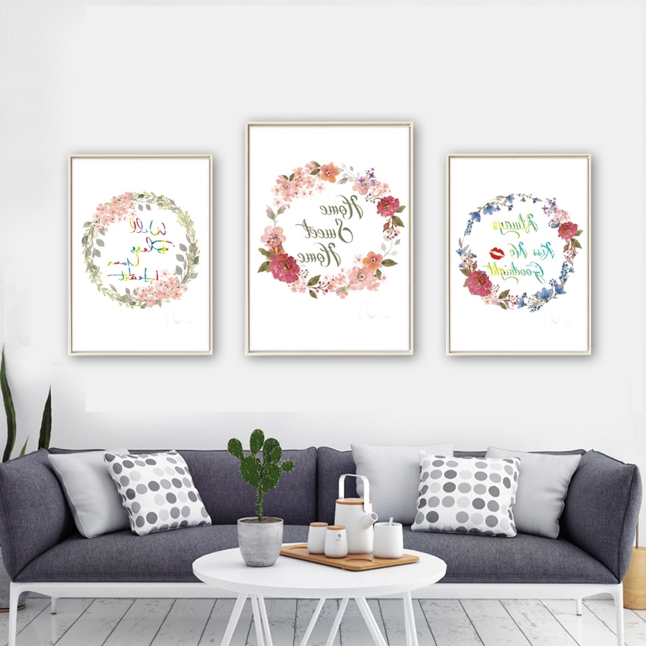 Living Room Wall Art Throughout Most Current Beautiful Flowers Home Sweet Home Quote Canvas Art Print Poster Home (Gallery 12 of 15)