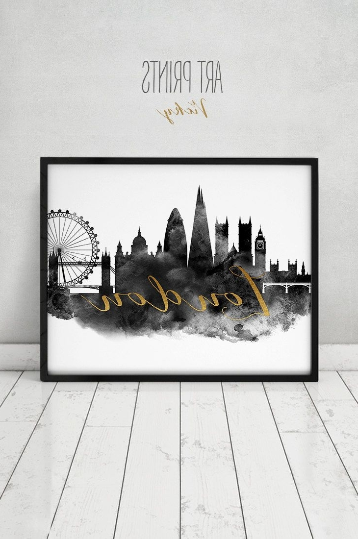 London Print, Wall Art, London Poster, London Skyline, London Black Within Most Recently Released London Wall Art (View 18 of 20)