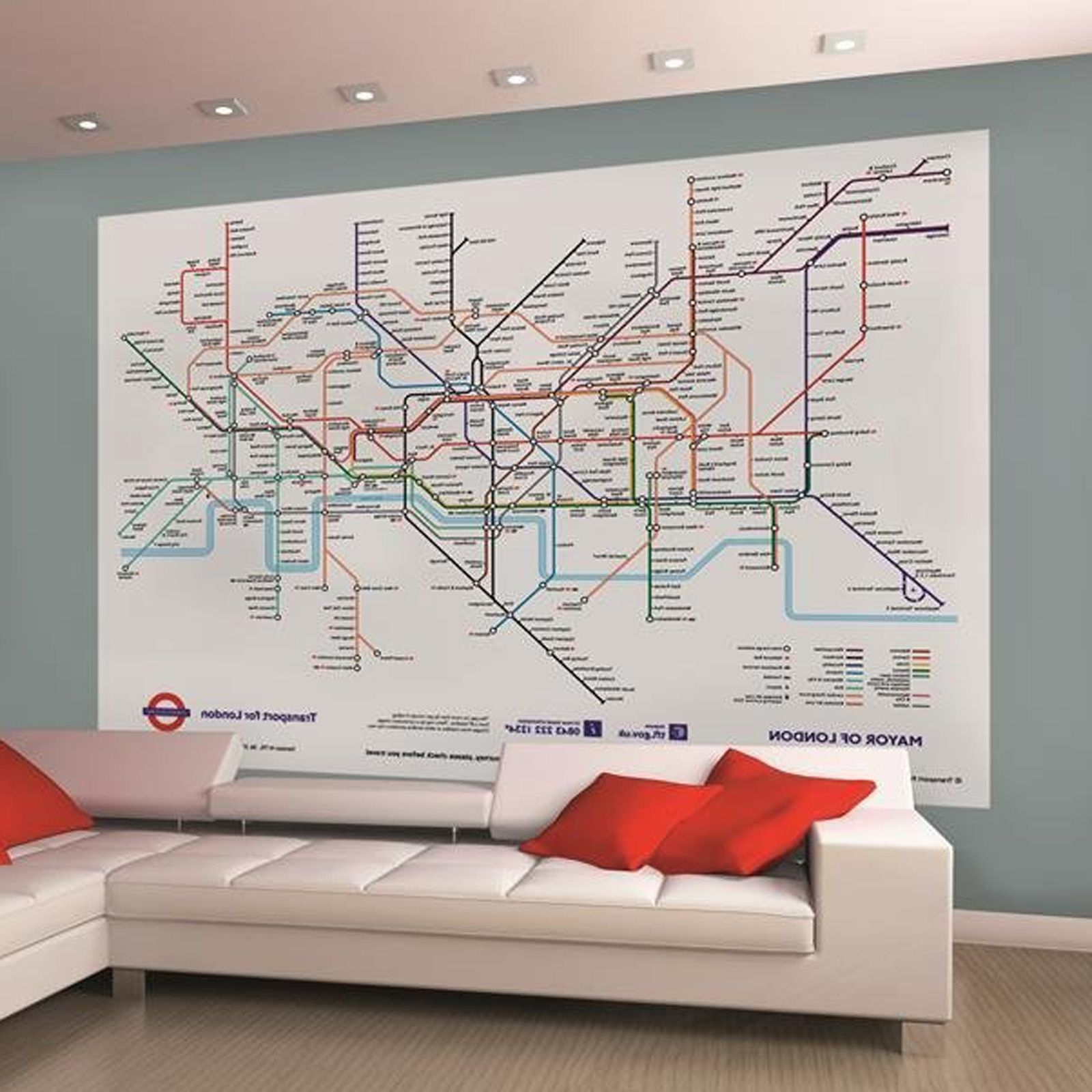 London Underground Tube Map Wallpaper Wall Mural 232M X 1 For Popular Tube Map Wall Art (View 5 of 20)