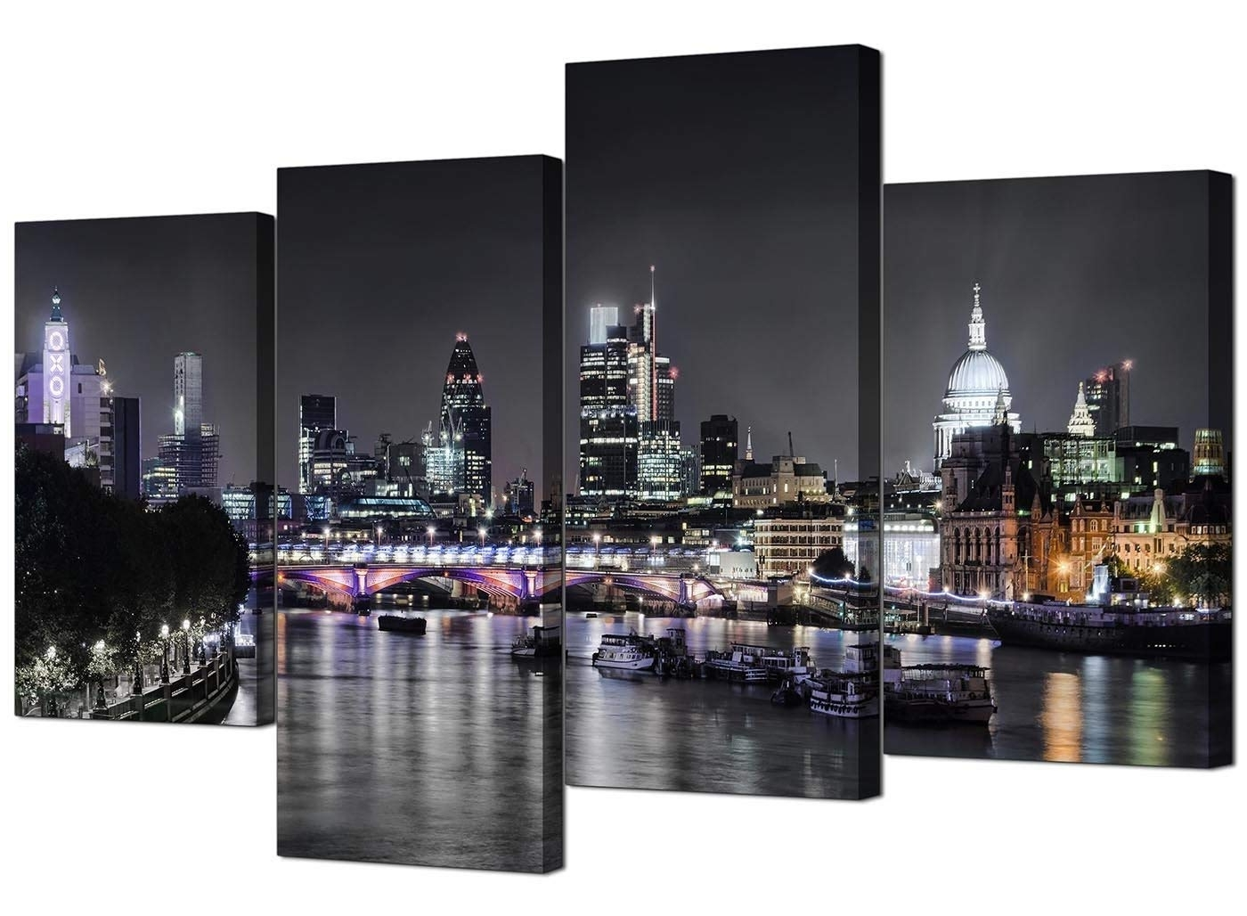 London Wall Art For Well Known Canvas Wall Art Of London Skyline For Your Living Room – 4 Panel (Gallery 4 of 20)