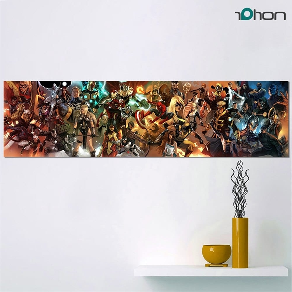 Long Canvas Wall Art Intended For Newest 2018 Hd Printed Super Long Picture Comics Characters Canvas Painting (Gallery 15 of 20)