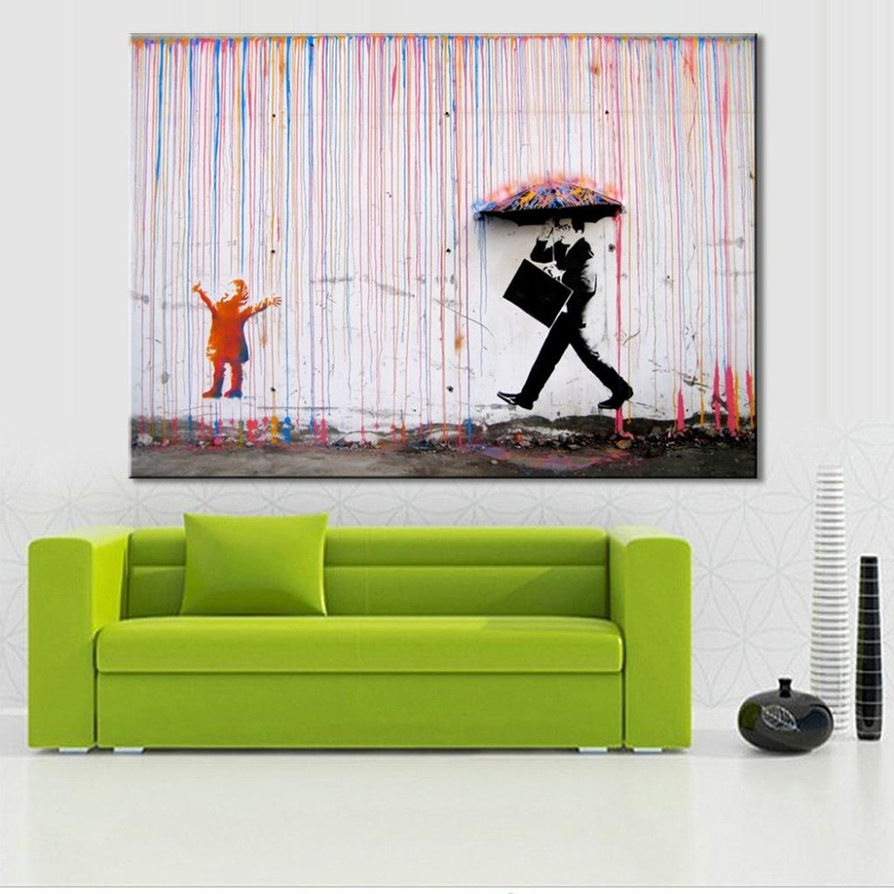 Long Canvas Wall Art Within Recent Banksy Colorful Rain Living Room Abstract Figure Oil Painting Hand (View 19 of 20)