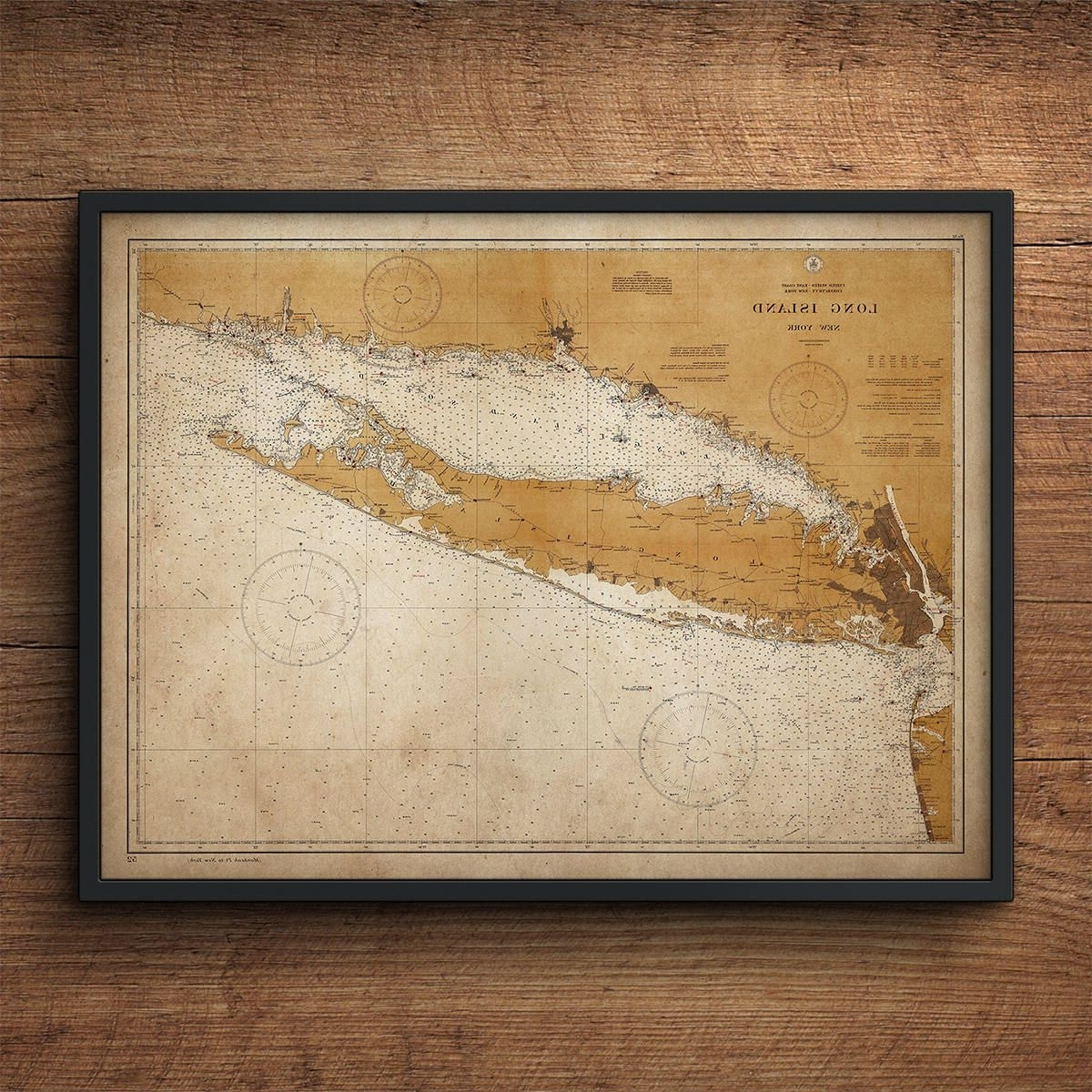 Long Island Map, Map Of Long Island, New York, Nautical Decor, Large Within 2017 Long Island Wall Art (View 6 of 20)