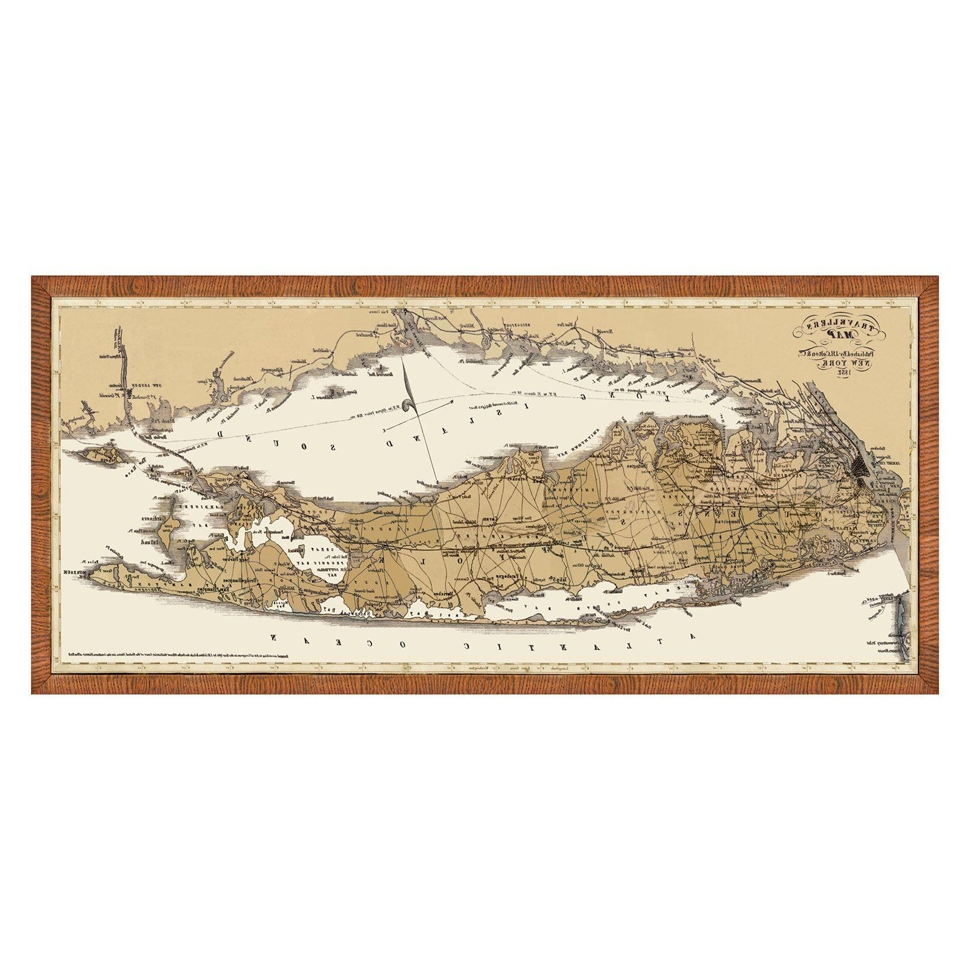 Long Island Wall Art Pertaining To Widely Used Vintage Print 1429 63 Map Of Long Island & Connecticut Framed Art At (View 10 of 20)