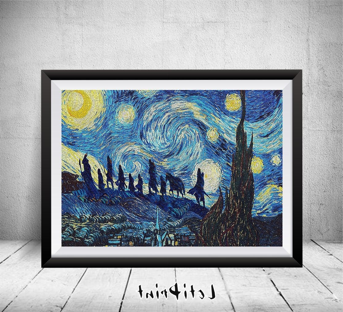 Lord Of The Rings Wall Art Inside Latest Lord Of The Rings Starry Night Print, Wall Art Decor, Lord Of The (View 4 of 20)