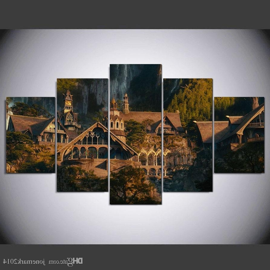 Lord Of The Rings Wall Art Intended For Most Up To Date 2018 5 Panel Framed Hd Printed Lord Of The Rings Hobbit Castle Wall (View 7 of 20)