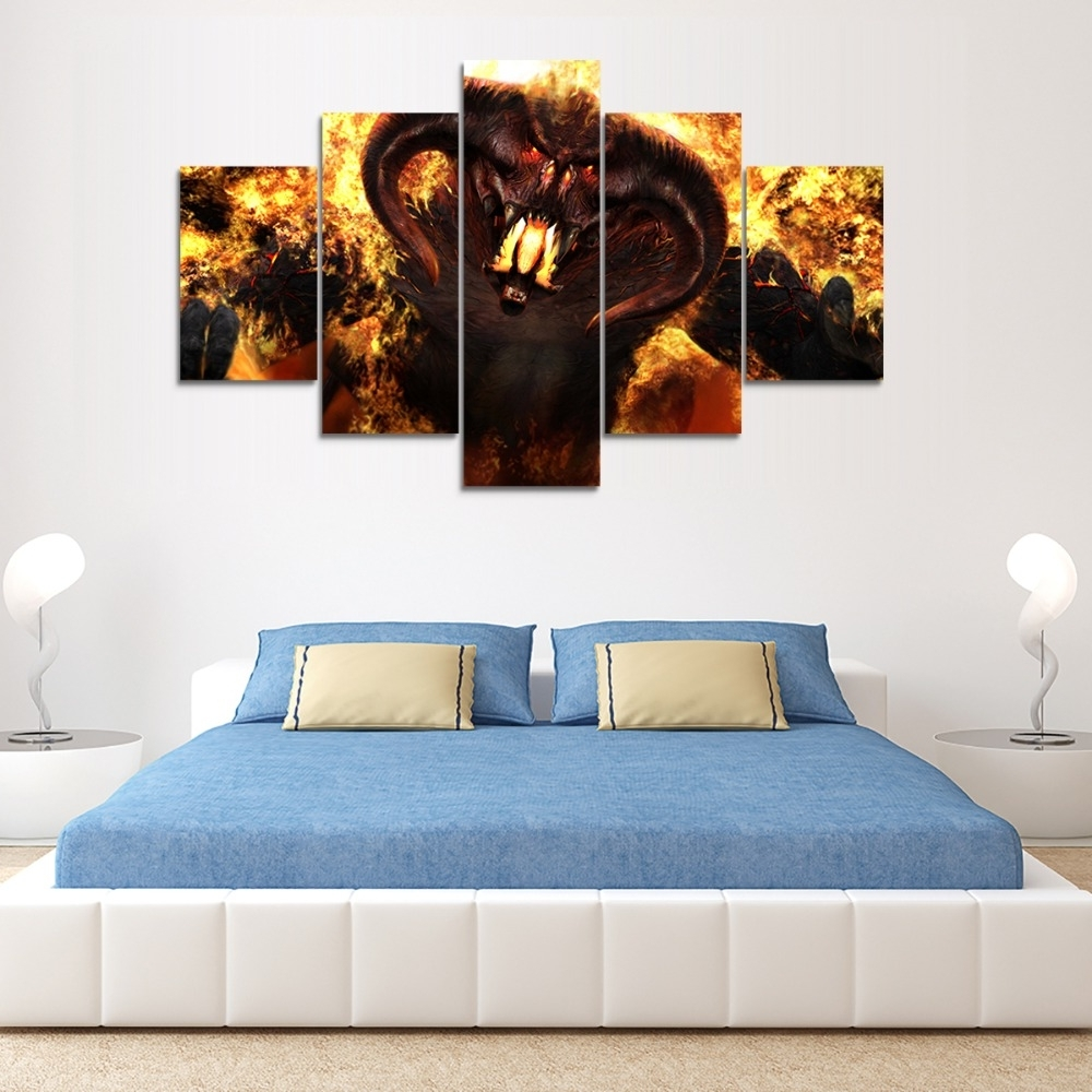 Lord Of The Rings Wall Art Within Latest Balrog 5Pcs Canvas Print – V (View 10 of 20)