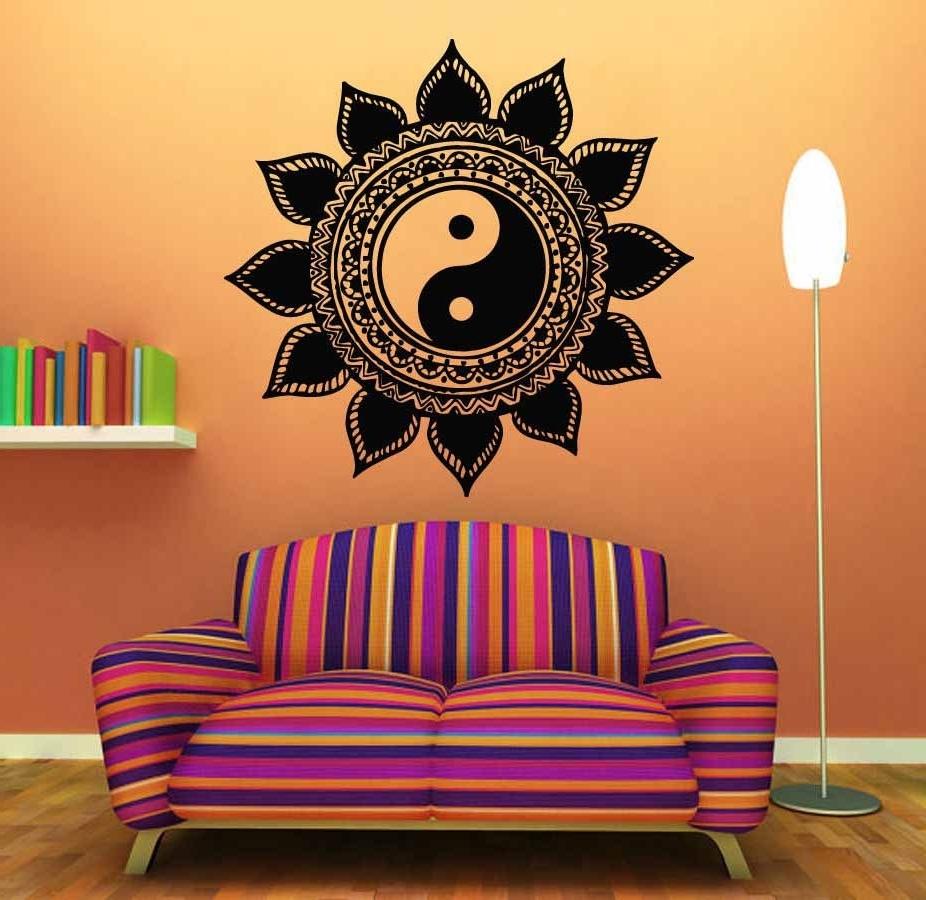 Mandala Tường Sticker Home Decal Phật Yin Yang Hoa Yoga Thiền Vinyl In Newest Mandala Wall Art (Gallery 3 of 20)
