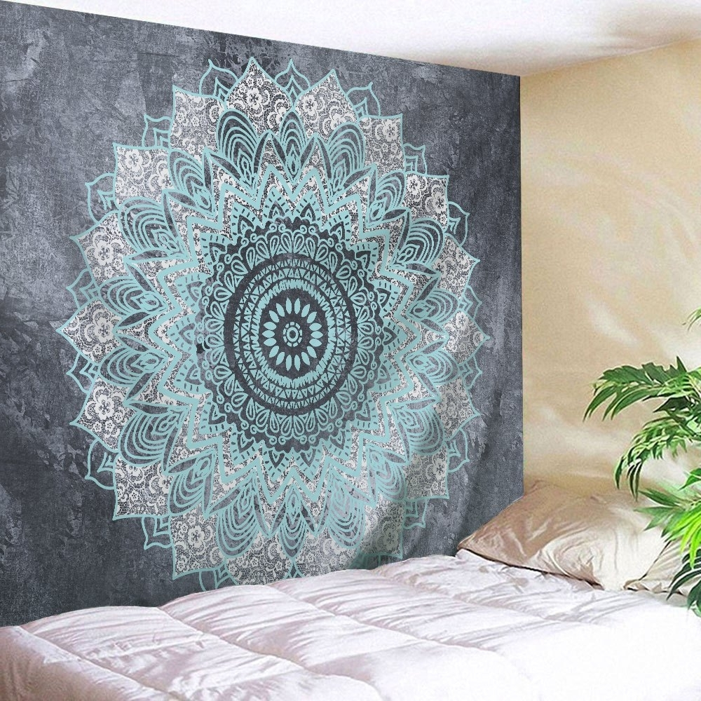 Mandala Wall Art Regarding Most Current 2018 Mandala Wall Art Hanging Beach Throw Tapestry Gray W Inch L (Gallery 7 of 20)