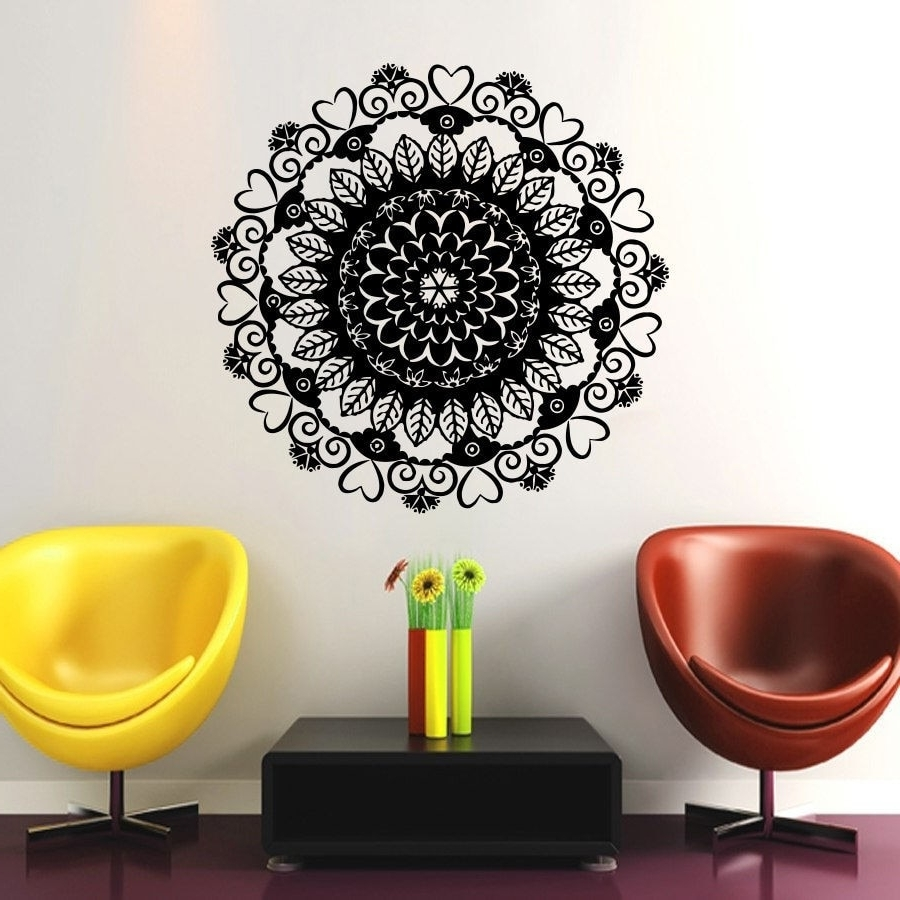 Mandala Wall Art Throughout Most Popular In Sale Vinyl Wall Art Decals Namaste Om Mandala Ornament Moroccan (View 10 of 20)