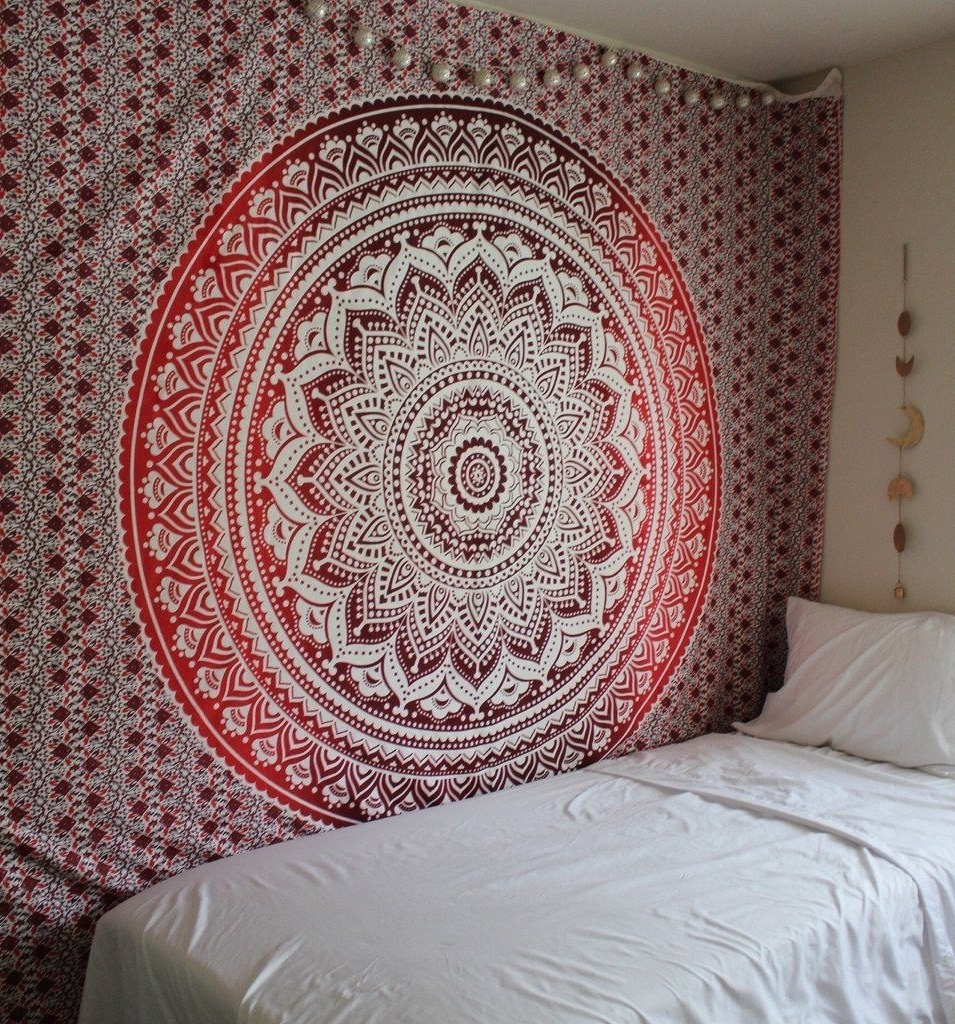 Mandala Wall Art With Preferred Exclusive Branded Ombre Tapestry'the Boho Street', Indian (Gallery 4 of 20)