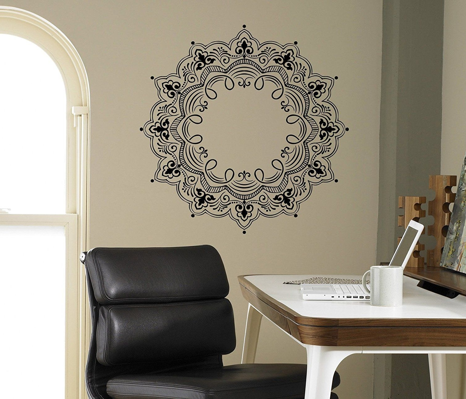 Mandala Wall Decal Abstract Flowers Vinyl Sticker Henna Flower Home For Most Recent Henna Wall Art (Gallery 15 of 20)