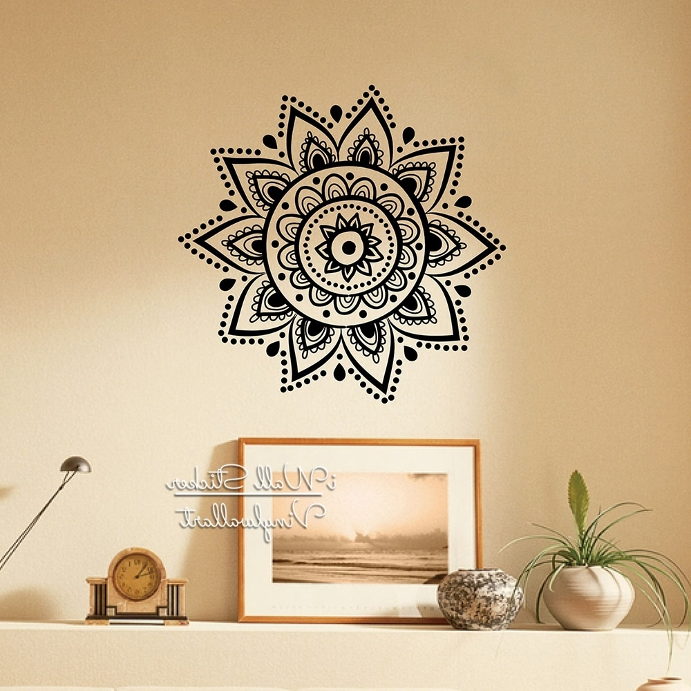 Mandala Wall Sticker Modern Yoga Wall Decal Diy Indian Wall Decors Intended For Trendy Art Wall Decors (View 14 of 20)