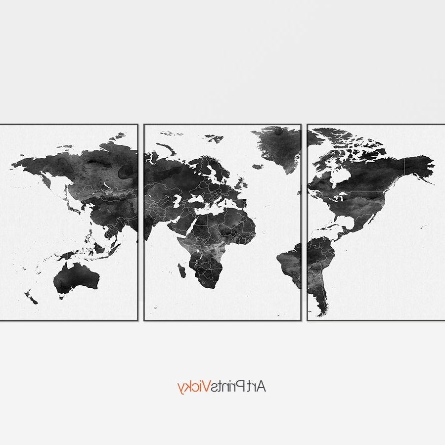 Map Wall Art Prints Inside Most Current World Map Black And White 3 Piece Wall Art (View 8 of 20)