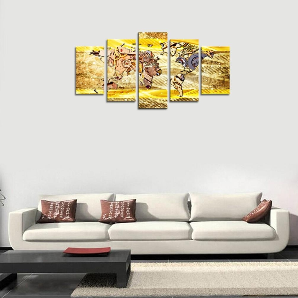 Map Wall Art Prints Intended For 2018 2018 Canvas Wall Art Prints Metal Gears Or Machine Parts Abstract (View 9 of 20)