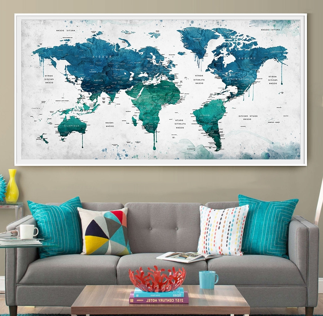 Map Wall Art Prints Regarding Well Known Extra Large Watercolor Push Pin Map Poster Print World Map (View 11 of 20)
