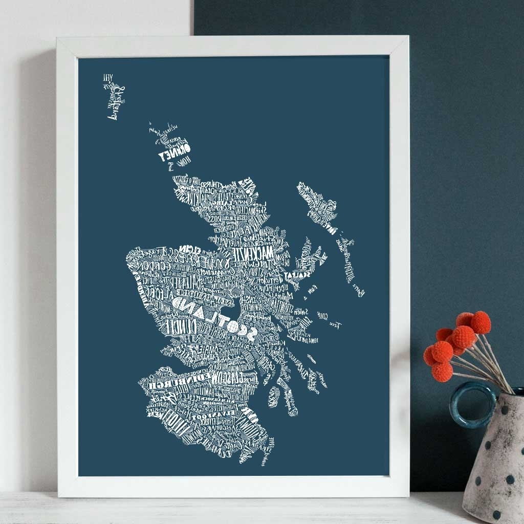Map Wall Art Prints With Best And Newest Gillian Kyle Scottish Wall Art Mapped Out Scotland Map Canvas Prints (View 12 of 20)